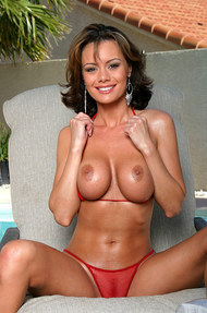 Crissy Moran in a hot red fishnet bikini  - 02