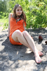 Cute Mila In Sexy Orange Dress Outdoors - 03