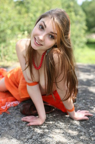 Cute Mila In Sexy Orange Dress Outdoors - 11