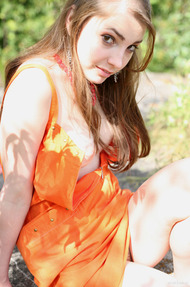 Cute Mila In Sexy Orange Dress Outdoors - 14