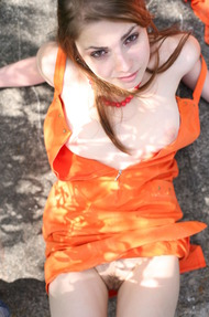 Cute Mila In Sexy Orange Dress Outdoors - 16