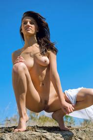 Brunette Teen Beauty Gaia Enjoys The Sunshine - 17