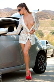 Amber Sym Nude Photos With Her Car - 02