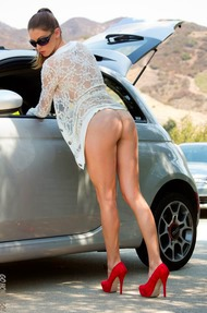 Amber Sym Nude Photos With Her Car - 06