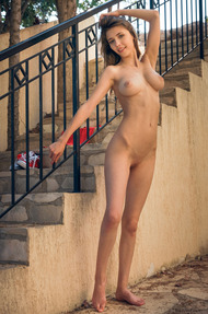 Busty Teen Mila Azul Strips On The Stairway - 13