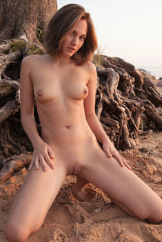 Hot Brunette Teen Selena B Posing On The Beach