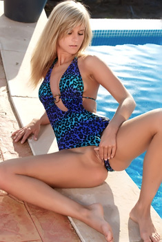 Blonde Babe Miela A In Skyblue Swimsuit
