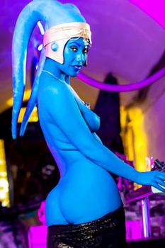 Sexy Blue Alien Babe Eva Lovia Gets Naked