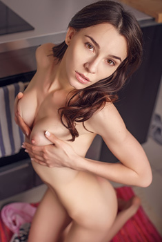 Perfect Young Brunette Adel Morel Spreading In The Kitchen