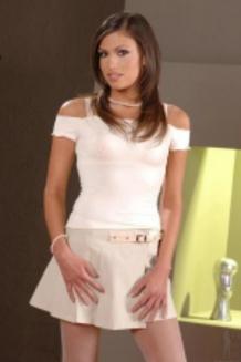Posing in white lingerie